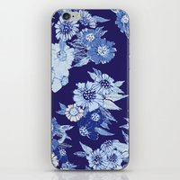 Floral pattern in Indigo iPhone & iPod Skin