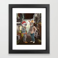 A Cats Night Out Christmas edition Framed Art Print