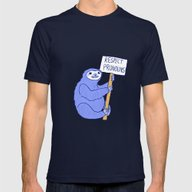 Trans* Rights Sloth Mens Fitted Tee Navy SMALL