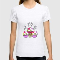 Cute Monster With Pink And Purple Polkadot Cupcakes Womens Fitted Tee Ash Grey SMALL