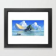 The Golden Whale Framed Art Print