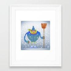 Shoveling snow... Framed Art Print