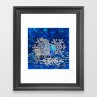Silver Blue Deer Framed Art Print