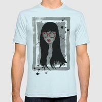 Never met a Hipster that really needs glasses Mens Fitted Tee Light Blue SMALL