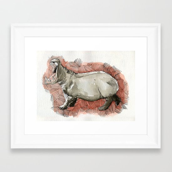 Watercolor Hippo Framed Art Print