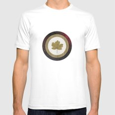 Leaf Space White Mens Fitted Tee SMALL