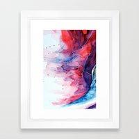 Watercolor magenta & cyan, abstract texture Framed Art Print