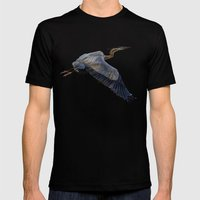 Great blue heron in fly Mens Fitted Tee Black SMALL