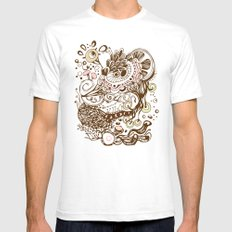 Zentangle green flower roots doodle SMALL White Mens Fitted Tee
