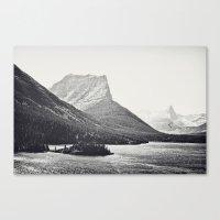 Glacier Mountain Lake Black and White Canvas Print