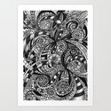 Drawing Floral Zentangle G6 Art Print