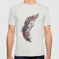 Feather // Illustration Mens Fitted Tee Silver SMALL