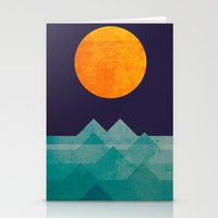 geometric Stationery Cards featuring The ocean, the sea, the wave - night scene by Picomodi