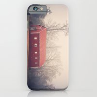 iPhone & iPod Case featuring Little Red Barn in the Fog by Angela Stansell Photography
