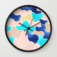 Color block faux gold turquoise pink watercolor Wall Clock
