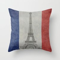 Distressed National Flag of France with Eiffel Tower insert Throw Pillow