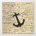 Vintage gray retro nautical anchor marine paper Canvas Print