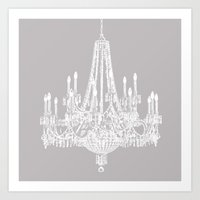 Chic White and Gray Chandelier   Art Print