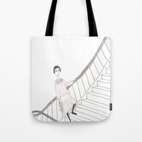 girl on a stair Tote Bag