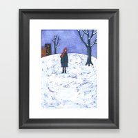 Snowy Day In Brooklyn Framed Art Print