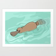 Kawaii Platypus Art Print