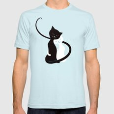 White And Black Cats In Love SMALL Mens Fitted Tee Light Blue