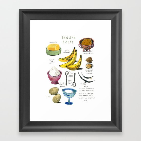 Illustrated Recipes Banana Bread Framed Art Print By