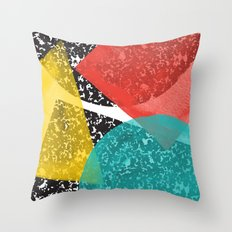 Watercolor Memphis Design Inspired 80s Geometric Color Throw Pillow