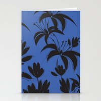 Black And Dark Blue Nigh… Stationery Cards