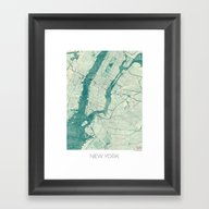 New York Map Blue Vintag… Framed Art Print
