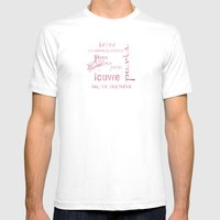 Paris Typography Mens Fitted Tee White SMALL