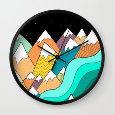 Waves Of The Mountains Wall Clock