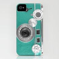 Teal Retro Vintage Phone iPhone (4, 4s) Slim Case
