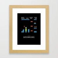 Minimal NES - Super Mari… Framed Art Print