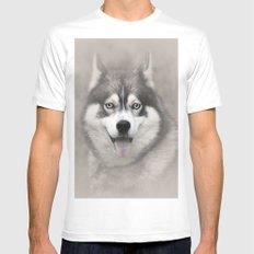 Siberian Husky 2 SMALL Mens Fitted Tee White