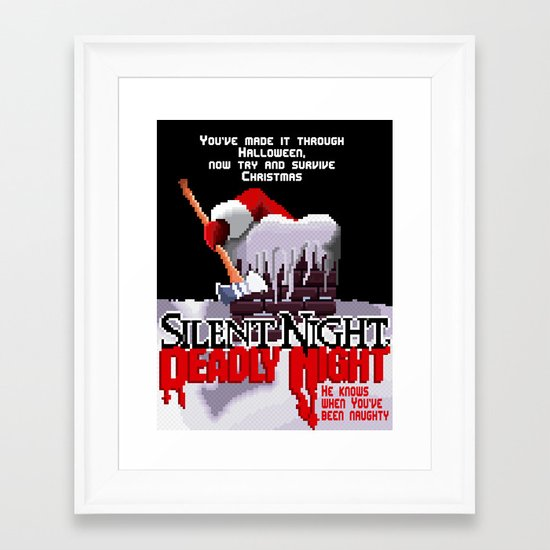 8 Bit Silent Night, Deadly Night Framed Art Print