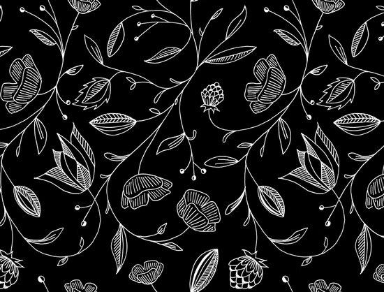 floral (black) Art Print