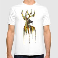 Painted Stag Mens Fitted Tee White SMALL