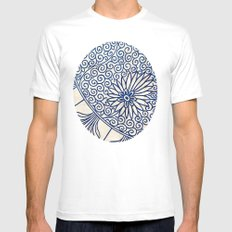 Blue Oriental Vintage Tile 01 Mens Fitted Tee White SMALL