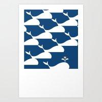 Whale in the ocean Art Print