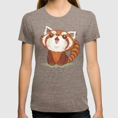 Red Panda Womens Fitted Tee Tri-Coffee SMALL