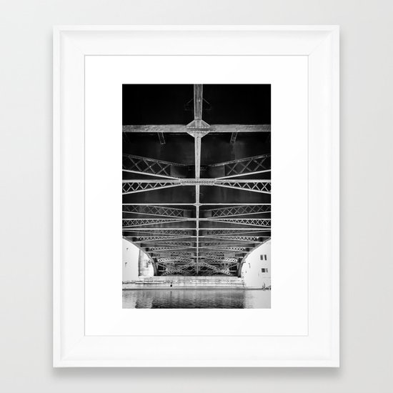 Chicago Riverwalk - Underneath Wabash Avenue Bridge Framed Art Print