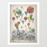pop art Art Prints featuring Voyages over Edinburgh by David Fleck