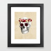 Skull And Flowers  Framed Art Print