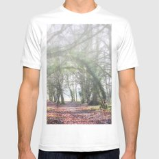 Enchanted Woodland White SMALL Mens Fitted Tee