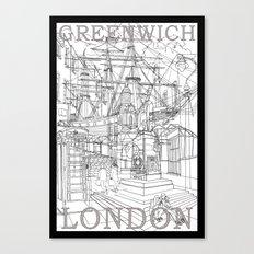 Greenwich London (B&W) Canvas Print