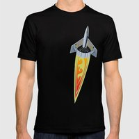 Rocket with Pinstripes Mens Fitted Tee Black SMALL