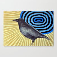 Crow And The Sun Canvas Print
