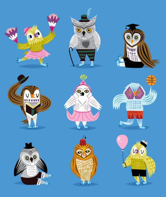 Owls Wearing Outfits Art Print