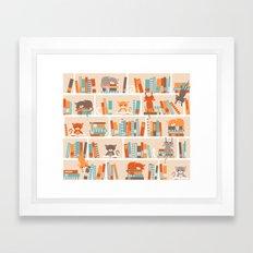 Library cats Framed Art Print